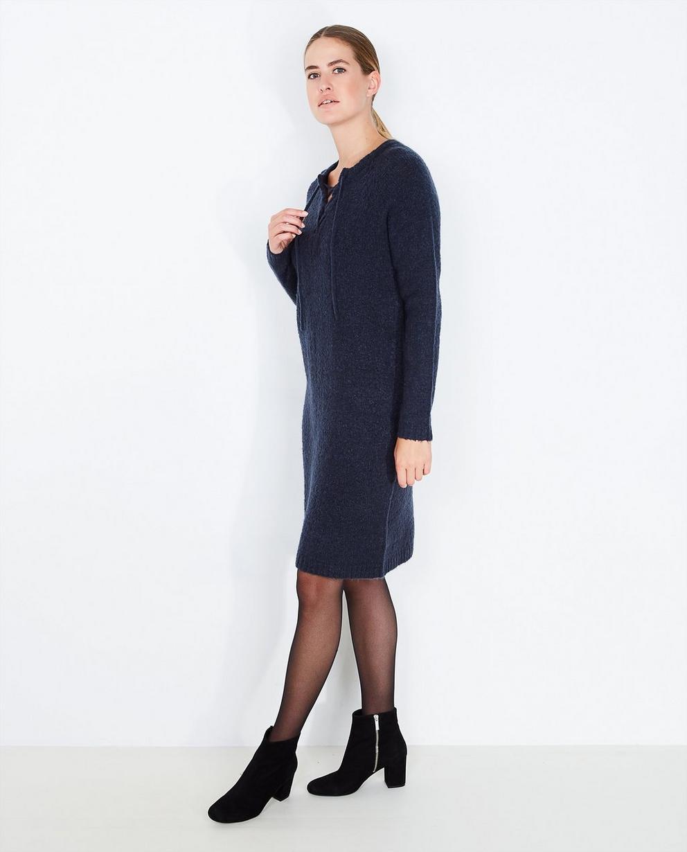 Diepblauwe gebreide jurk - PEP - Pep
